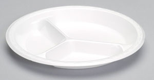 "10.25"" 3 Compartment Foam Plate"