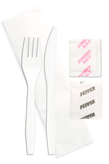 Fork, Knife, Napkin, Salt & Pepper Kit White